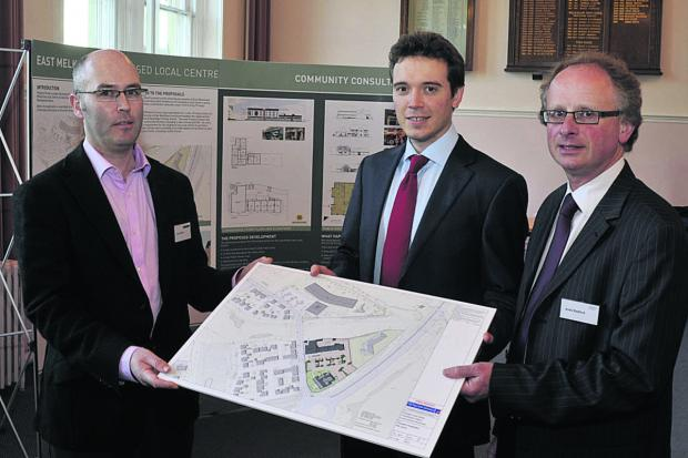 Colin Wood of Tetlow King, Peter Atkin of Pegasus and Andy Radford of Guildhall Estates,  at the East Melksham Local Centre consultation session
