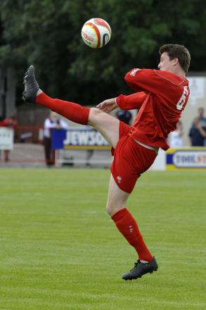 Alex Lapham, pictured playing for Frome Town, was on target for Warminster Town last weekend