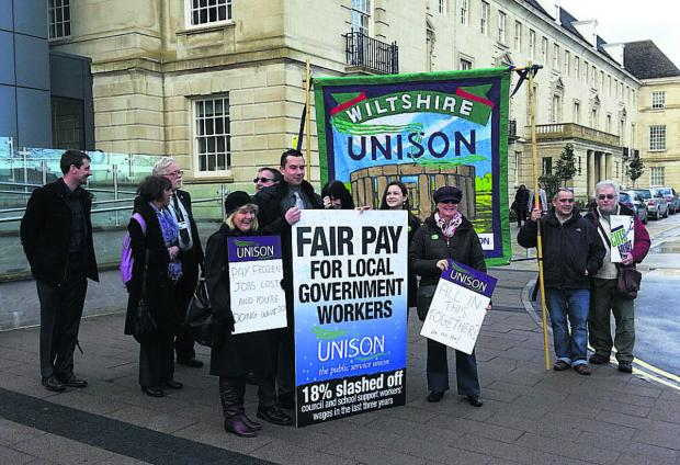 Protesters outside County Hall, Trowbridge, today