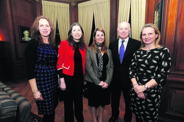 Iain Duncan Smith with, from left, Recruit for Spouses director Suzie Richards, Conservative candidate Michelle Donelan, Recruit founder Heledd Kendrick and fellow director Jo Kitchin
