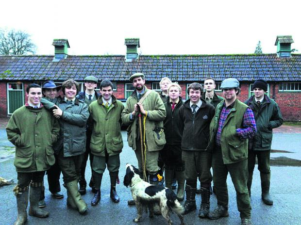 Will Owen, Wiltshire College Lackham's 250th guest, with Liam Stokes and a few current Lackham gamekeeping students