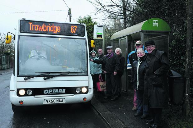 North Bradley parish councillor Horace Prickett, right, with villagers catching the new 67 bus at North Bradley