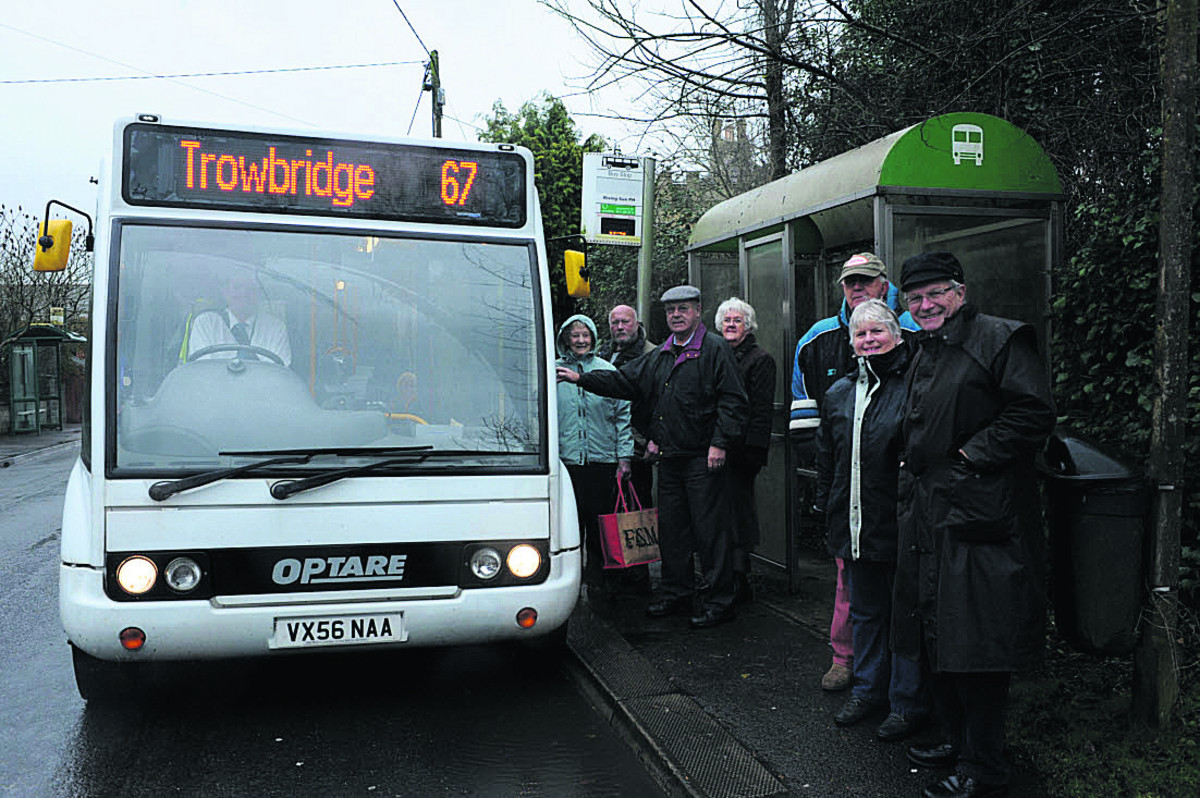 North Bradley parish councillor Horace Prickett, right, with villagers catching the new 67 bus a