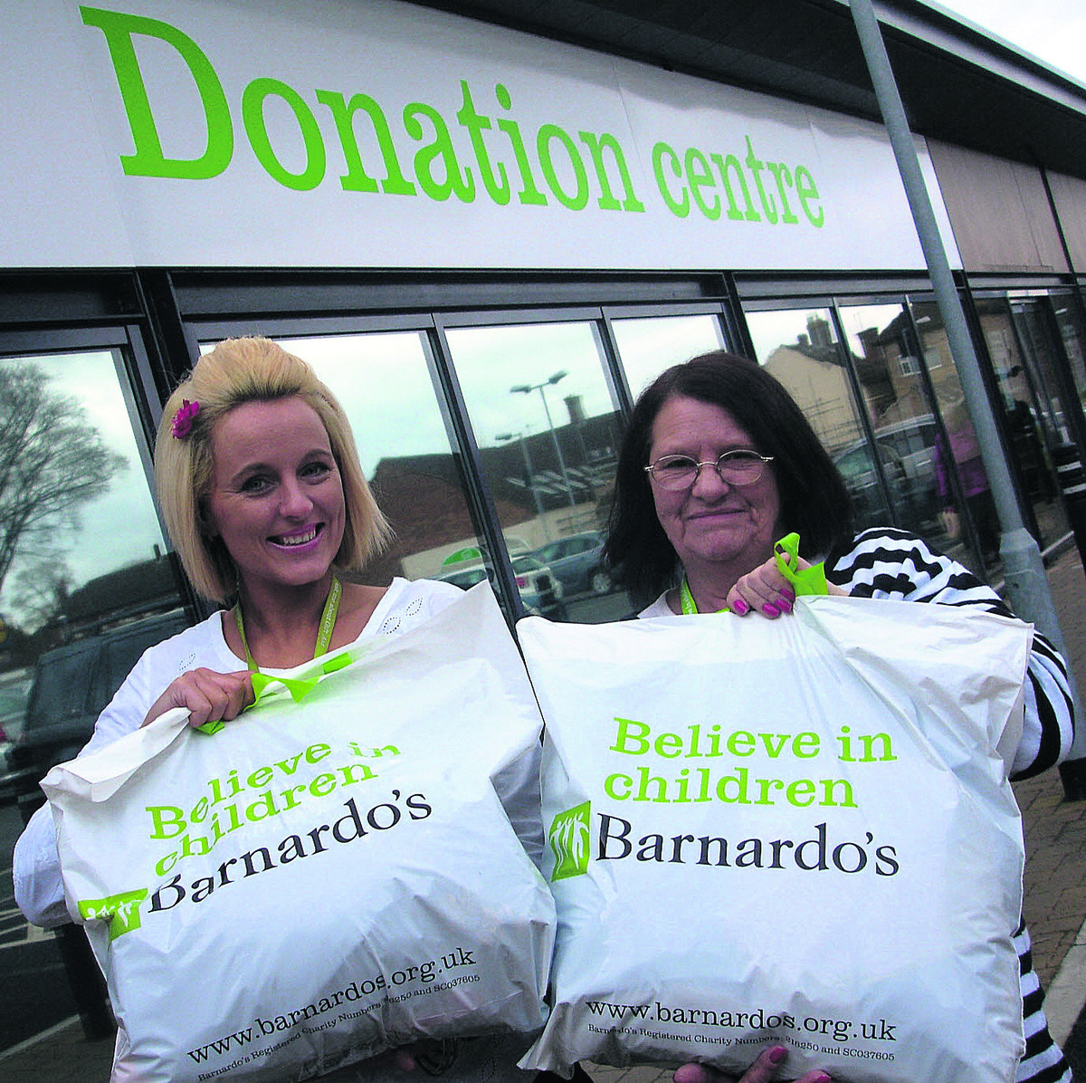 Sales assistant Sabrina Millar and volunteer Sue Doig are encouraging donations