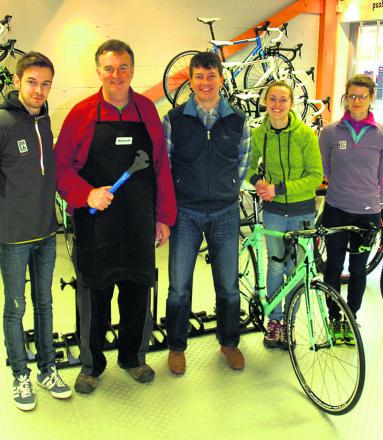 Push Active staff Dan Buckingham, Bruce Chappell, Paul Nichols, Lucy Scattergood and Anna Brooke at the new shop in Snuff Street
