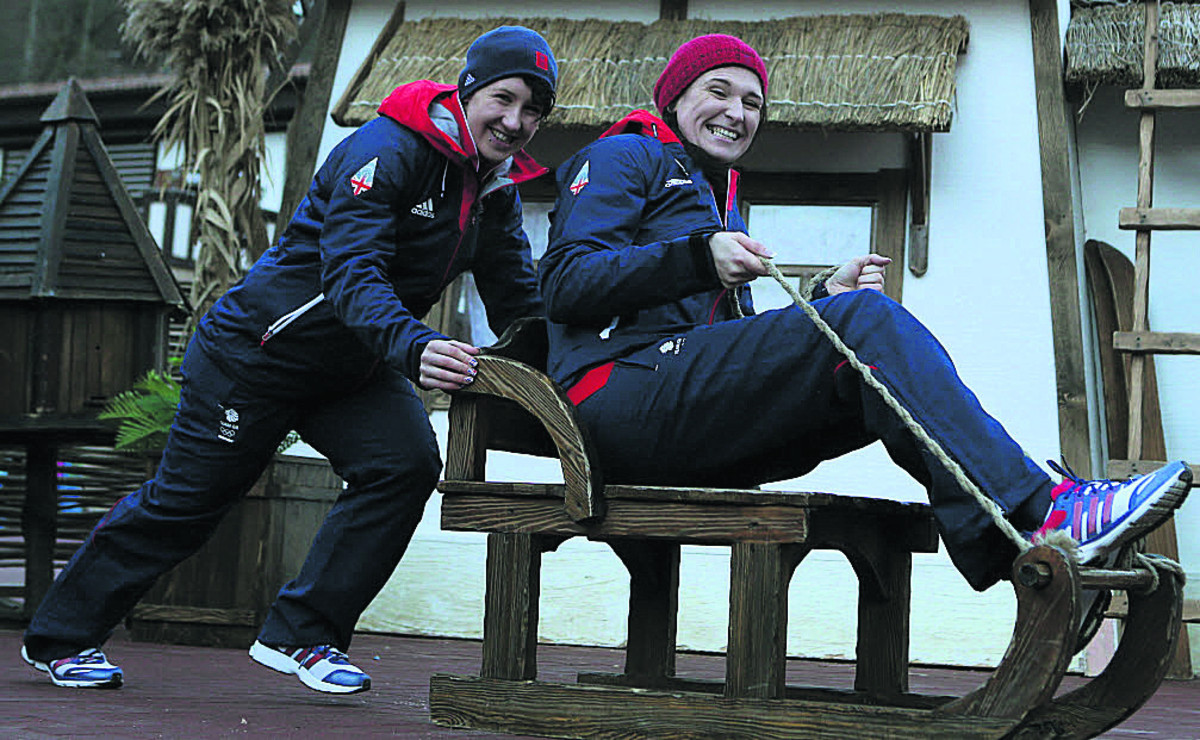 Paula Walker (right) and brakewoman Rebekah Wilson sit in a sledge during a photocall earlier this week, ahead of the women's two-man bobsleigh event, which starts on Tuesday