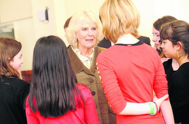 Wiltshire Times: The Duchess of Cornwall meets young drama students during her visit to the Pound Arts Centre, Corsham, today