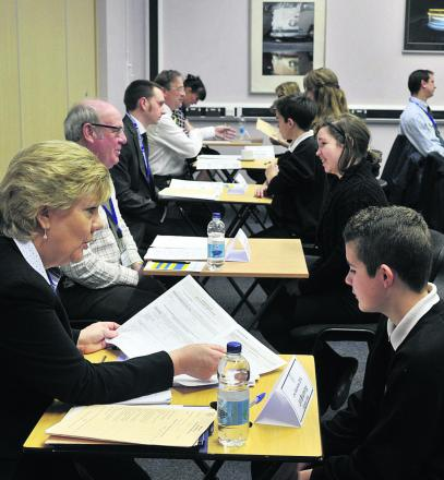 Mock interviews between business people and the pupils to help the youngsters ready themselves for the world of work