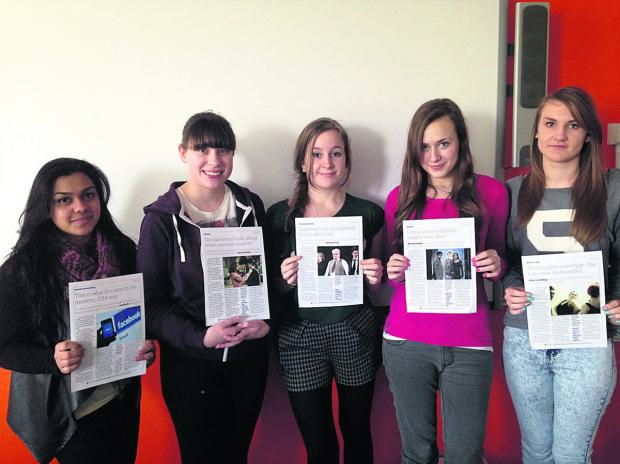 Melksham Oak Year 13 English Language students, from left, Jomila Begum, Rebecca Poiner, Eleanor Cox, Nicole Stokes and Abby Goulding, some of the group who visited the Guardian, with their finished articles