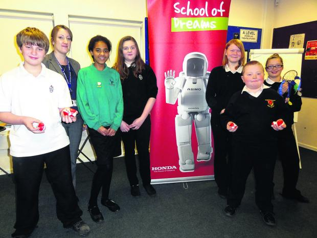Matravers School assistant headteacher Rachael Hodges, second left, with Year 8 pupils from Matravers and Year 6 pupils from Bitham Brook Primary School and Westbury Junior School