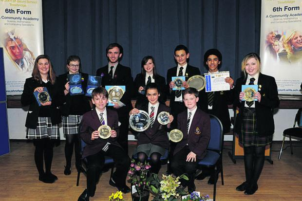 Seated, the team from St Augustine's College that won the Year 8 section, with Year 10 winners from The Clarendon Academy, back right, and Year 13 winners St Augustine's College                       									    Photo: Trevor Porter (48342)