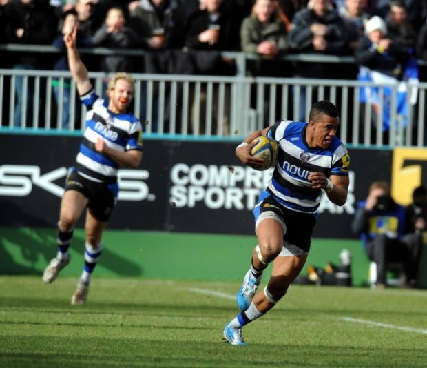 An interception by Anthony Watson leads to a try to the delight of teammate Nick Abendanon