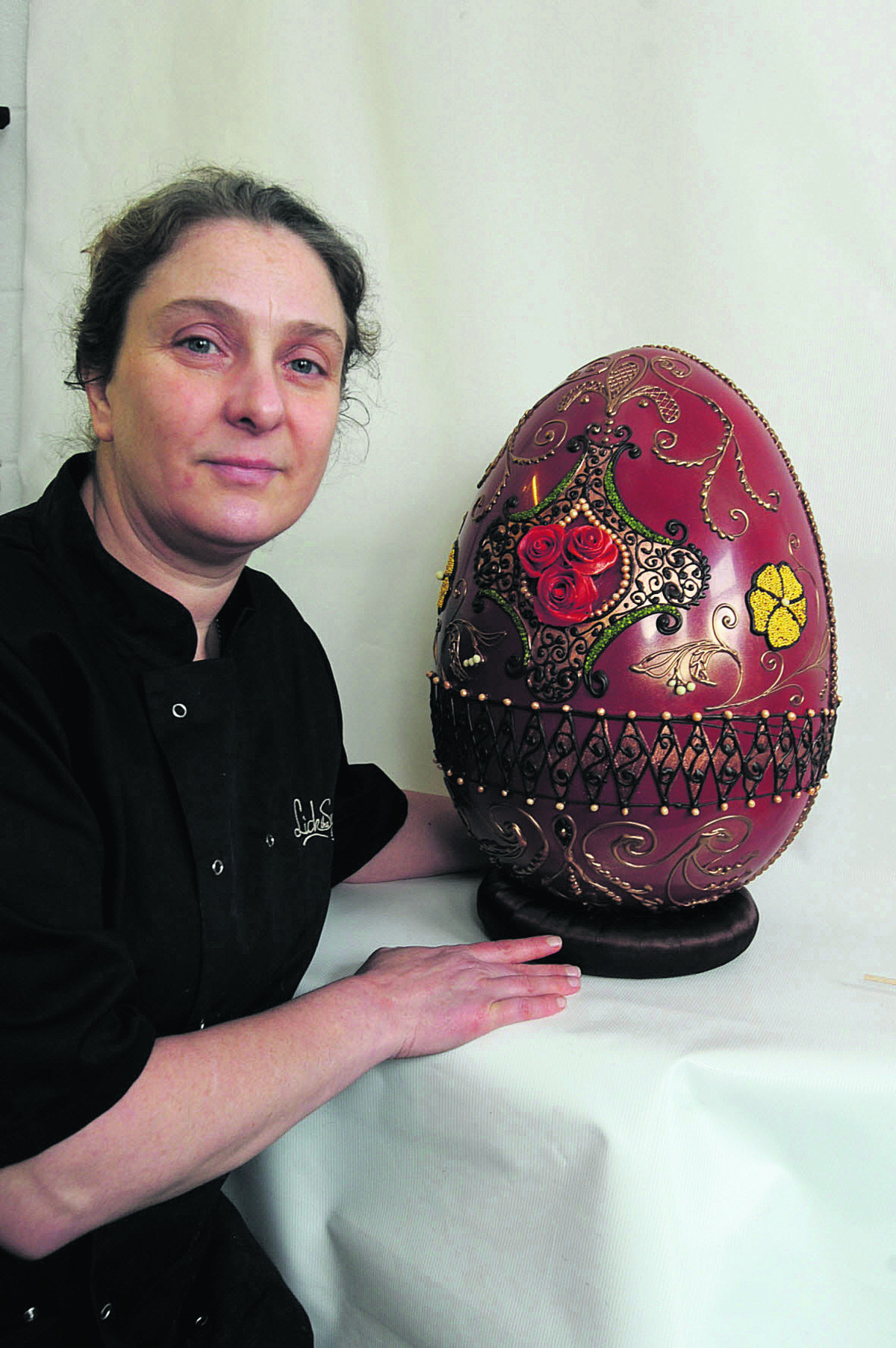 Diana Short with the giant egg at