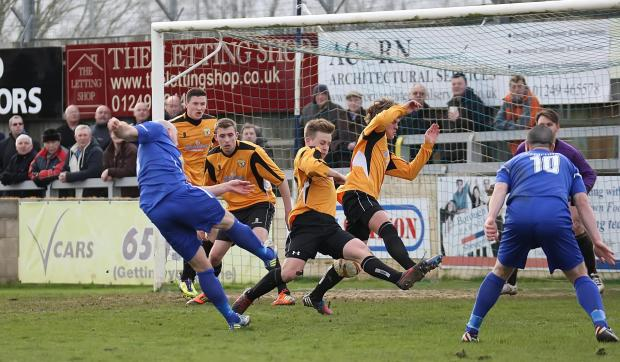 Wiltshire Times: Chippenham Town striker Alan Griffin shoots during his side's 2-0 win over Bashley on Saturday (Picture by Robin Foster)