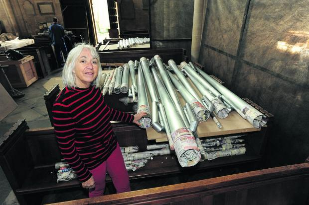 Anne Curtis with the newly delivered organ pipes