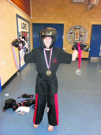 Lewis demonstrated Tae Kwon-Do