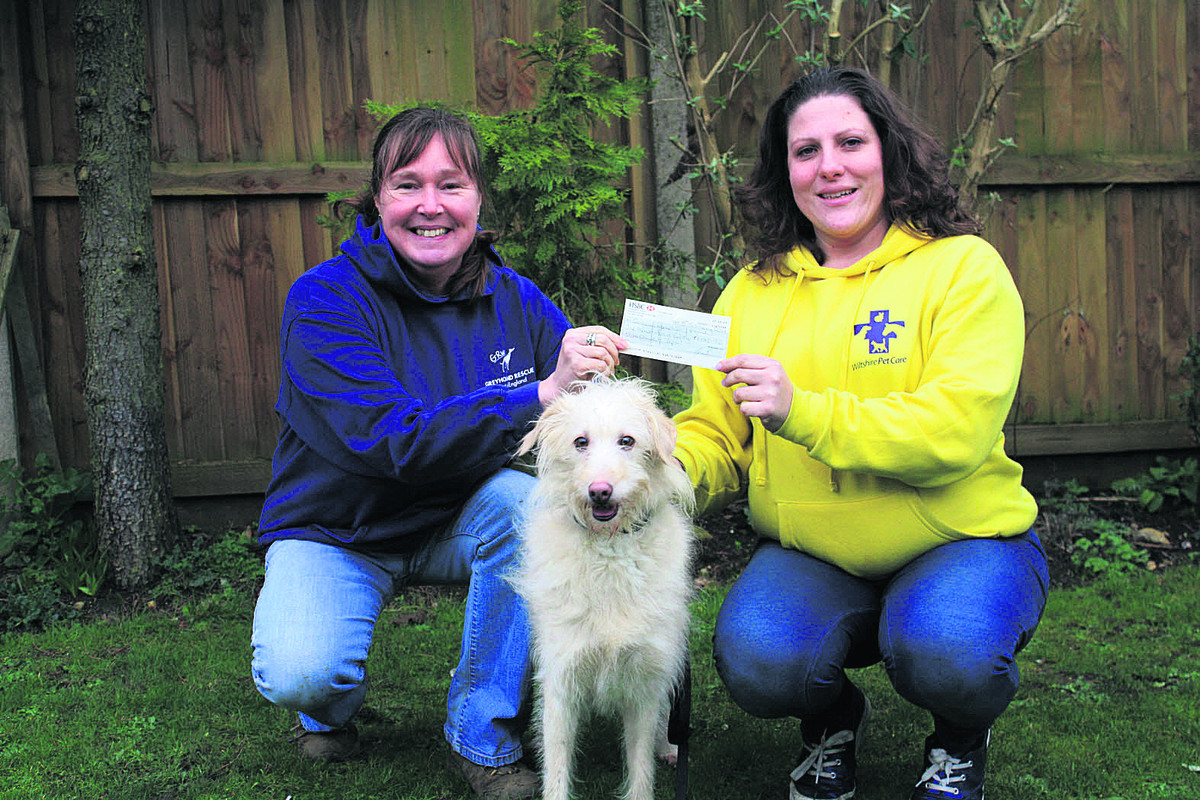 Jan Lake, chairman of trustees of GRWE, left, receives the cheque from Jo Middleton, who will now be caring for lurcher Mishka