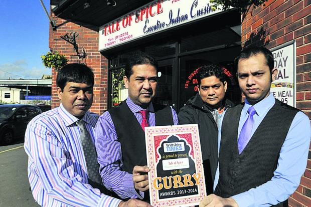 Tale of Spice staff, from left, managers Lutfur and Lyton Rahman and waiters Zahidur Rahman and MD Mithu