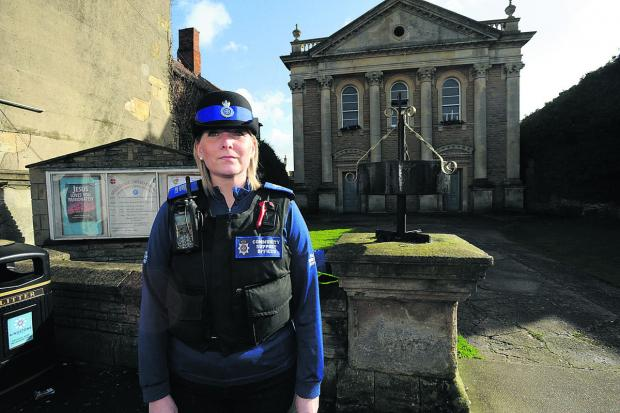 PCSO Helen Wilson outside Melksham United Church. An 86-year-old woman was mugged shortly after attending a service there