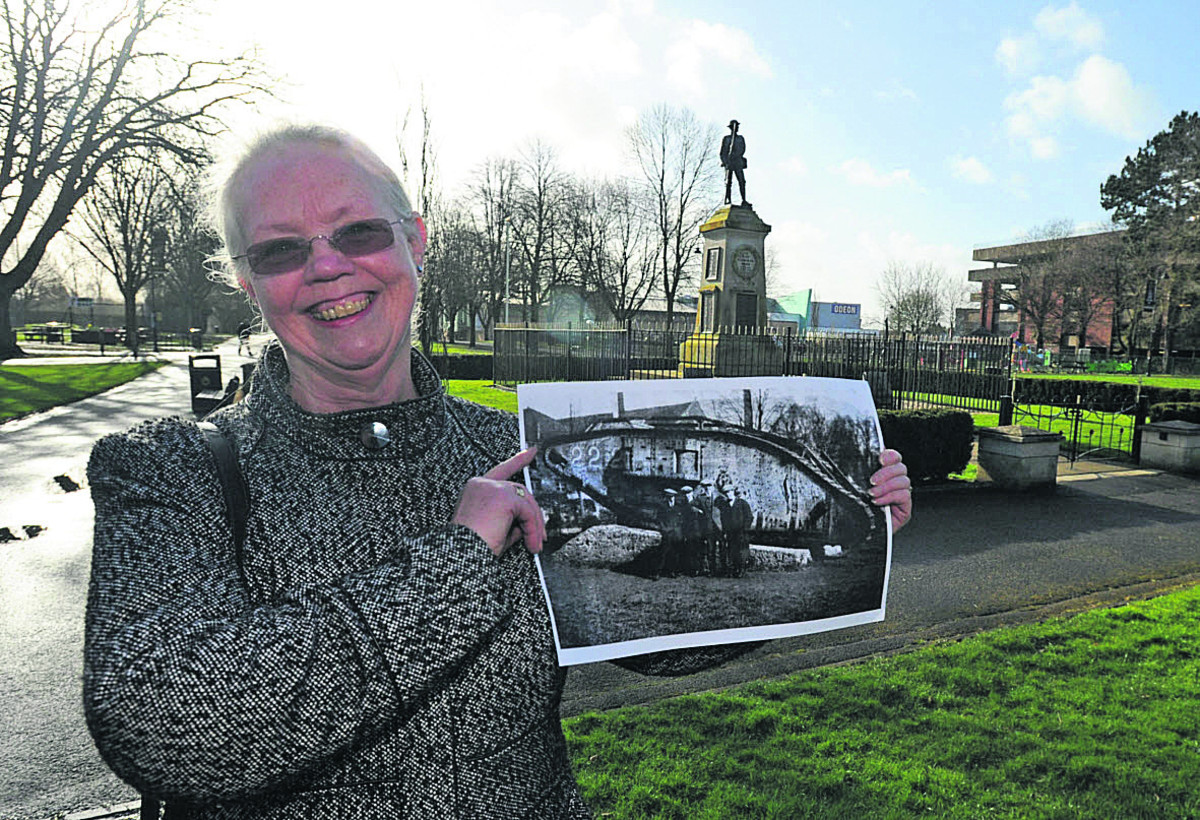Campaigner Sylvia Wardle with proposals for the replica tank