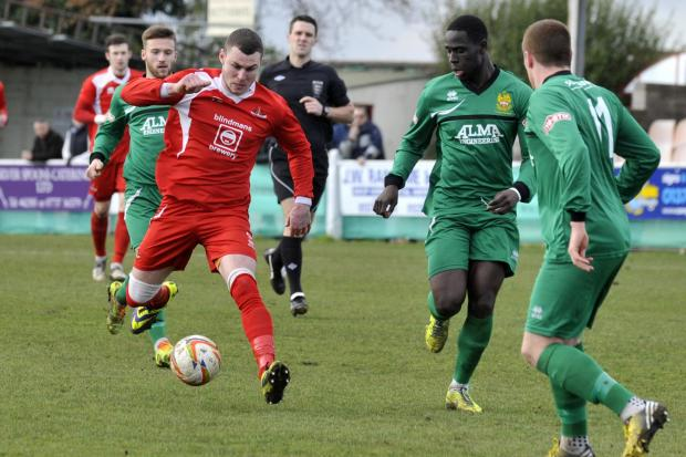 Frome Town's Ben Thomson gets on the ball against Hitchin Town last weekend