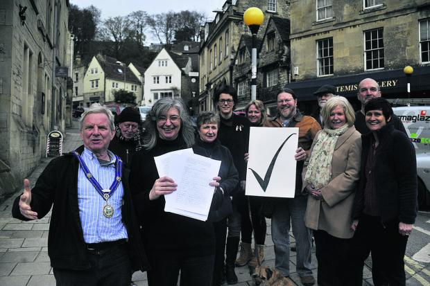 Wiltshire Times: Bradford on Avon mayor John Potter with campaigners in favour of the HCZ plans