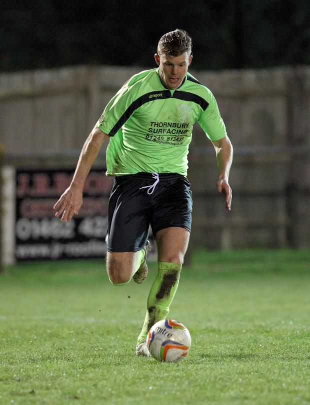 Wiltshire Times: Bryan Smith, pictured in action against Arlesey Town on Tuesday night (Photo: Chippenham Town FC)