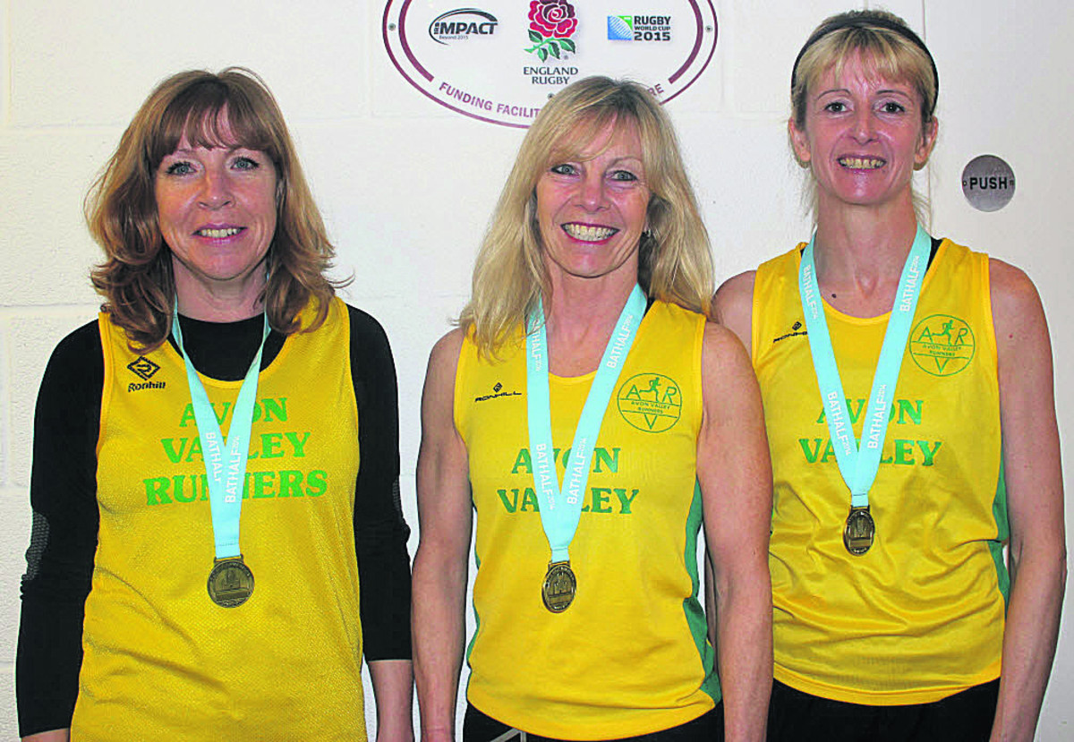 Avon Valley Runners' Jackie Rockliffe, Diane Hier and Fiona Price after their veteran ladies team win at the Bath Half Marathon on Sunday