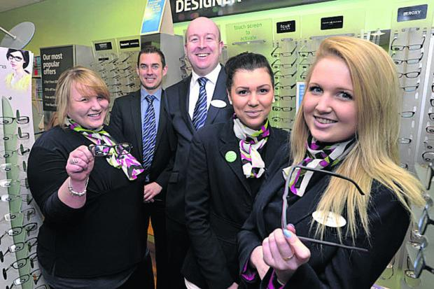 Specsavers apprentices, from left, Lacey Gibbs, Megan Price and Emily Spencer with Trowbridge Specsavers director Steph