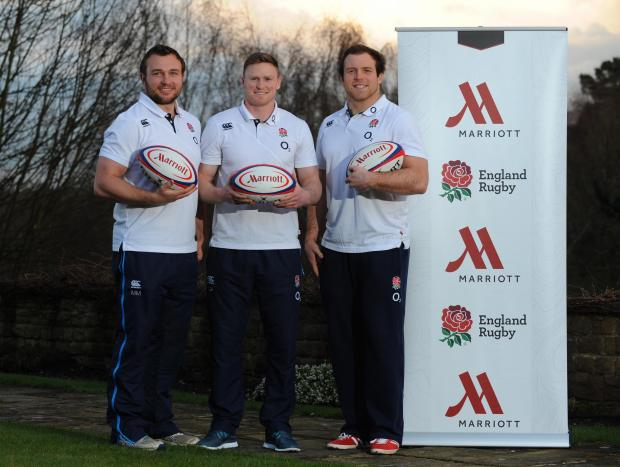 England's Matt Mullan, Chris Ashton and Henry Thomas (right)