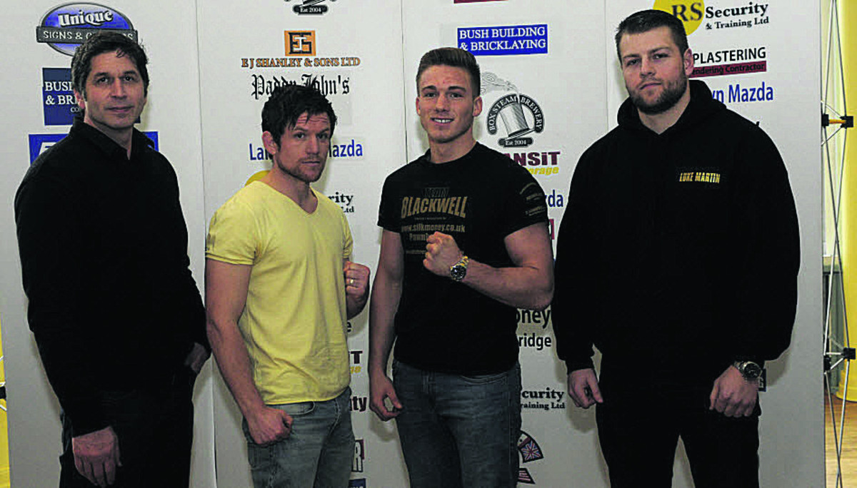 Contender Gym trainer Mark Kent (left) with fighters (l-r) Gareth Heard Nick Blackwell and Luke Martin at Bath's Forum for today's announcement (Photo: Trevor Porter)