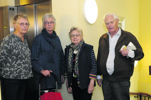 Vivien Norfolk, Gill Winfield, Joyce Shaw and Roy Hobson are annoyed at the length of time they have had to wait for their flats' lift to be fixed