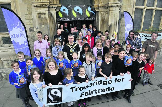Trowbridge Fairtrade Group with youngsters from Hilperton Primary School and Walwayne Court Primary School at their event at the Town Hall