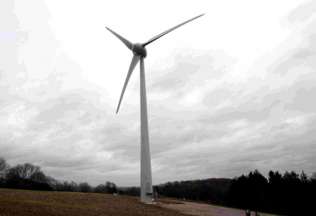 Villagers stand against Upton Scudamore turbine