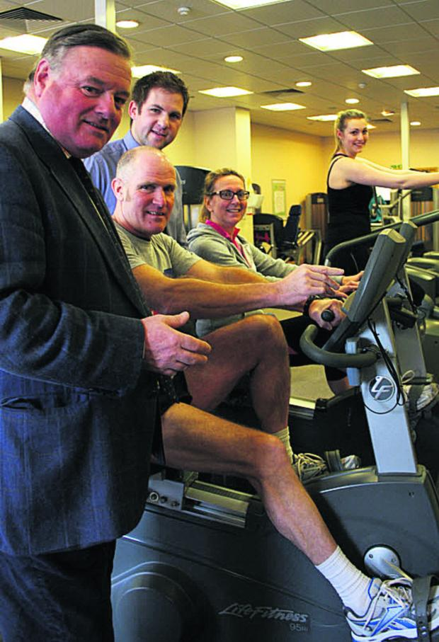 Wiltshire Times: Coun Jonathon Seed, Devizes Leisure Centre manager Dan Webb and gym users Keith Moore, Anna Villette and Elyne Williams