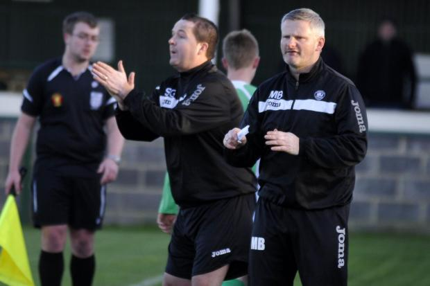 Westbury United manager Matt Bown (right)