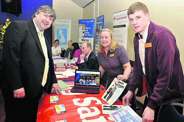 Organiser Jon Hubbard  chats to  Sainsbury's apprentice James Byrne and store trainer Diana Malling               (49242)