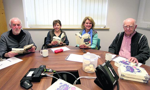 Wiltshire Times: From left, Noel and Sue Hardy, group leader Josephine Corcoran, and David Haley at the reading workshop held in Pewsey Library                                            Photo: Vicky Scipio (VS235)