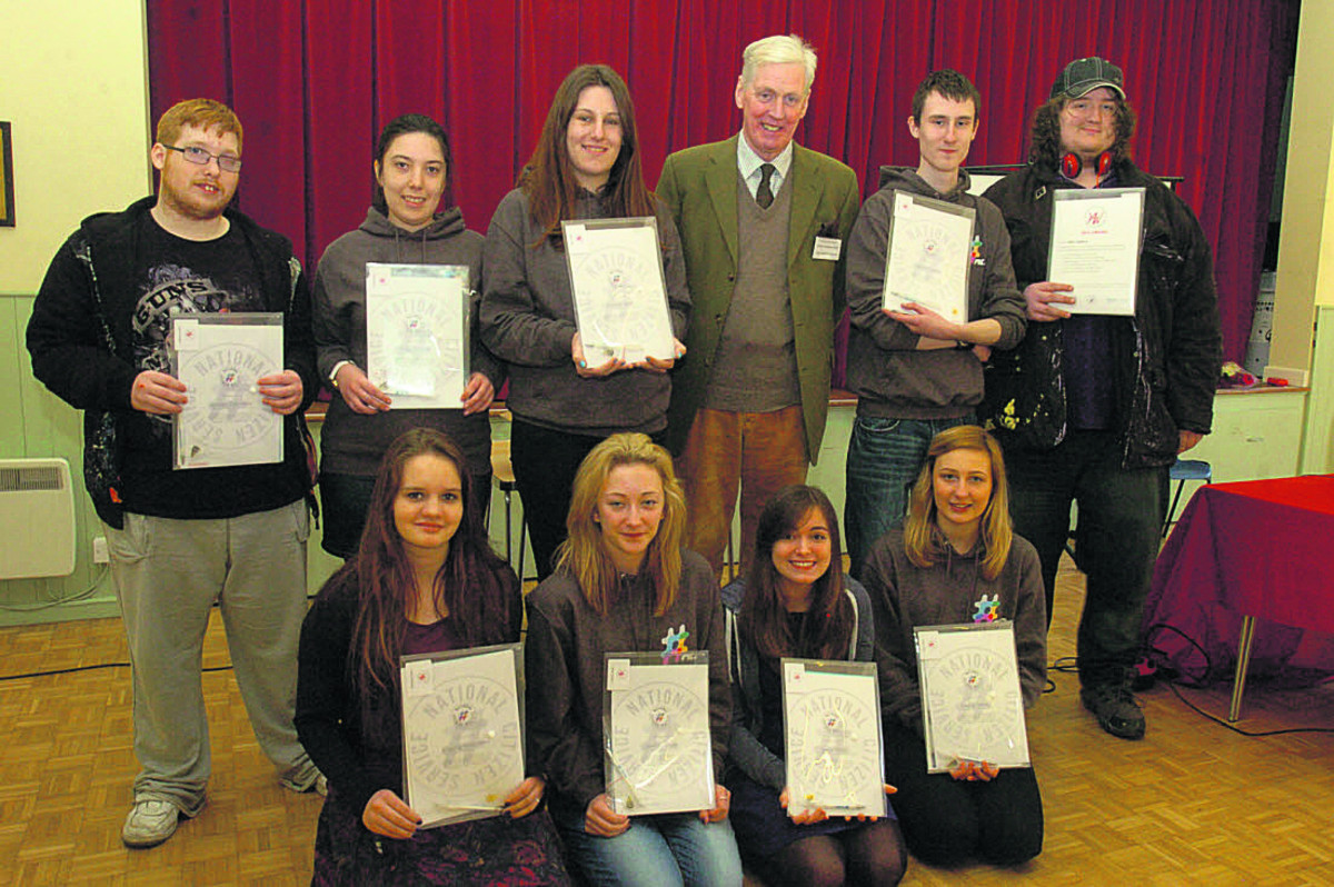 High Sheriff William Wyldbore-Smith with, back row, Jennan Canfield, Emily Saward, Kaisha Tyler, Dan Spears and Wil Matthews; and front, Ksenia Solovieva, Jasmin Russell, Elena, Rossi, Emma Tandy
