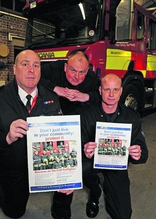 Bradford on Avon fire station watch manager Sean Gerrish, Ian Fitzgerald and Dan Epps