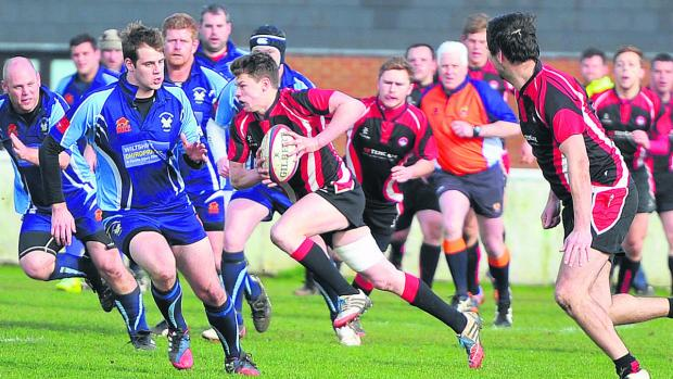 Bradford on Avon's Dan Bright sports a gap in the Supermarine defence on Saturday