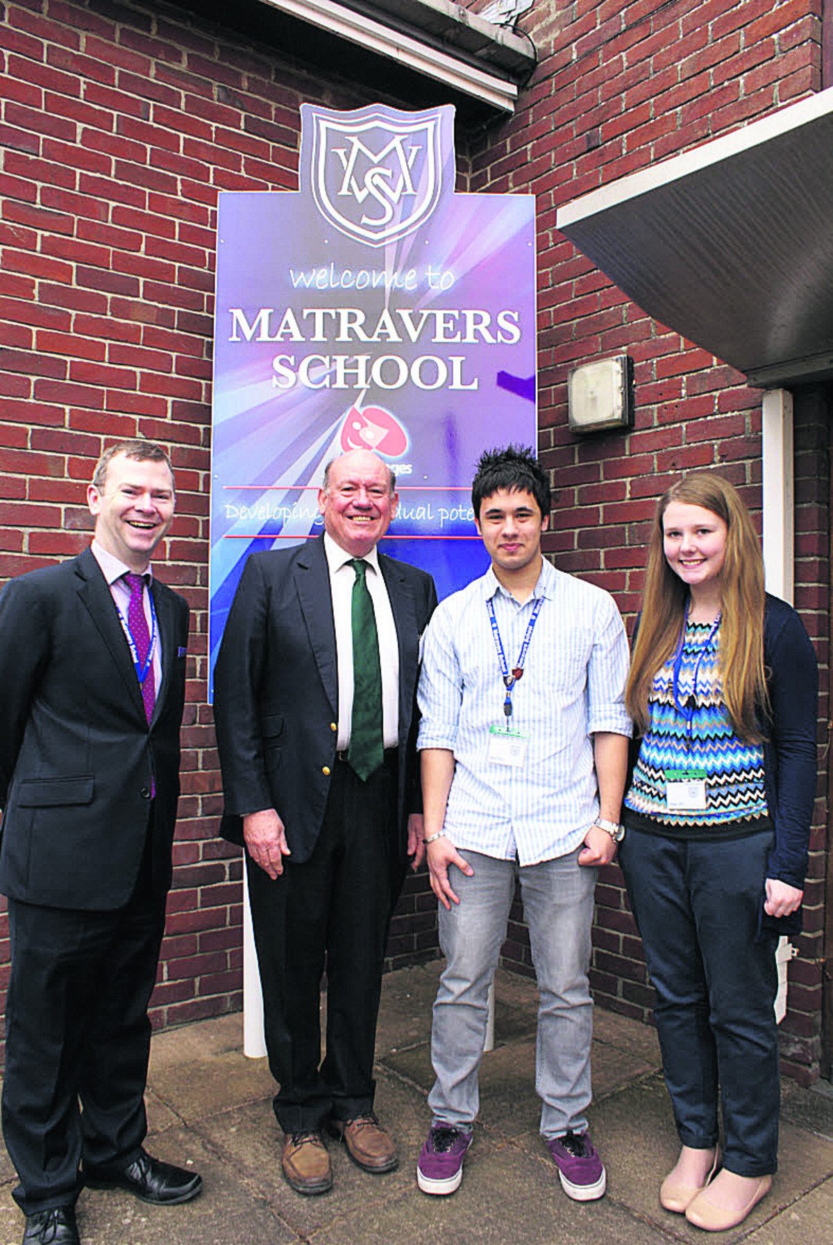 From left, head Dr Simon Riding, Lord Sharman, head boy Daniaal Ahmed-Sheehan and head girl Paige Bowyer