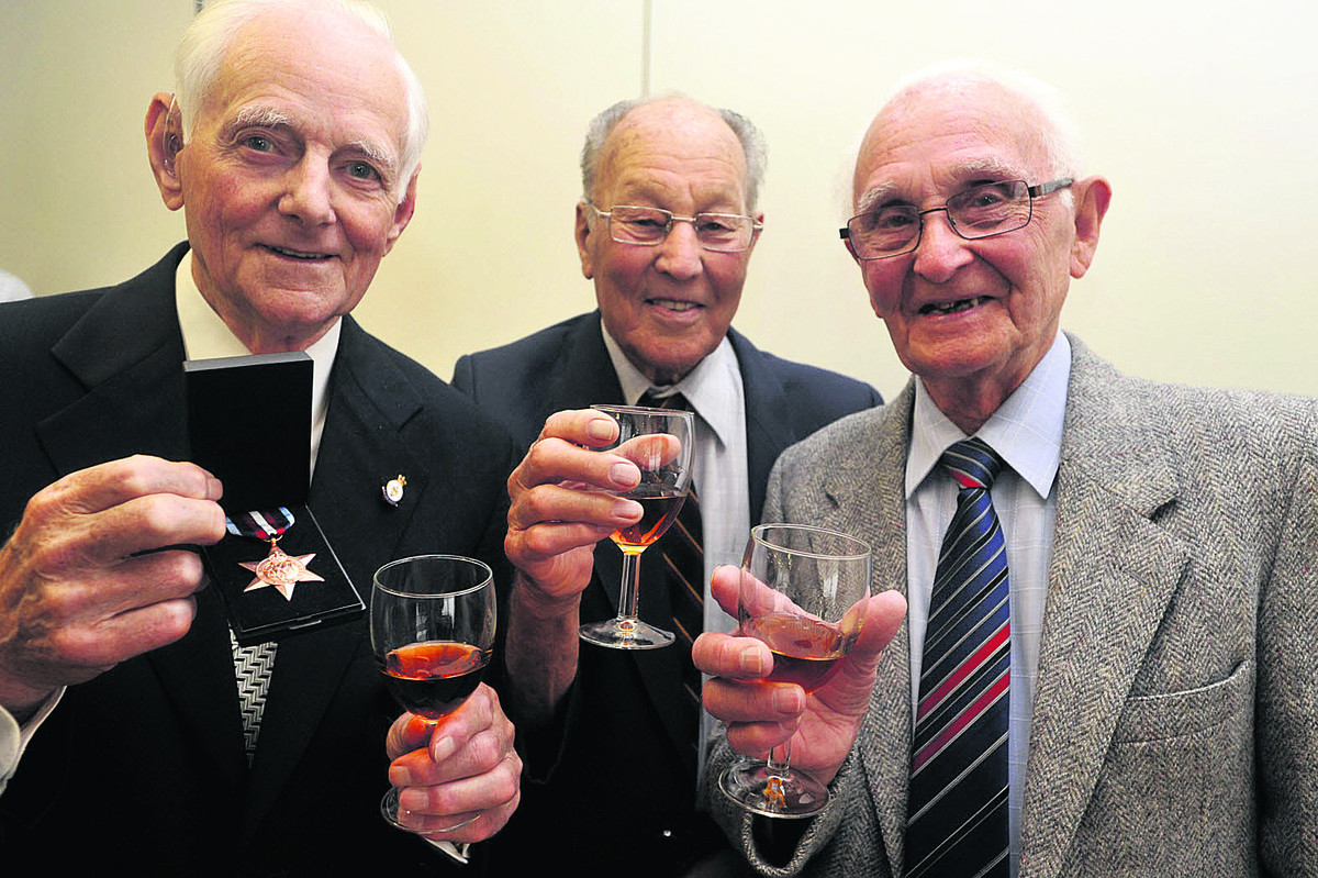 Gilbert Grace,of Trowbridge, left,  Denis Pickett of Holt and Joseph Grant of Trowbridge at the Arctic Convoy Star presentations last year
