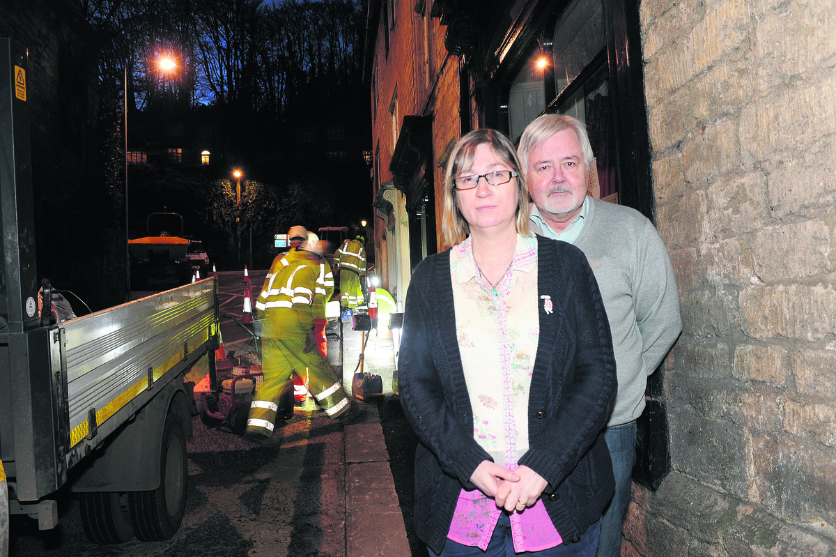 Angry residents Tessa and David Garwood were kept awake during works to the drain