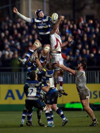 Bath's Dave Attwood wins a lineout during tonight's match