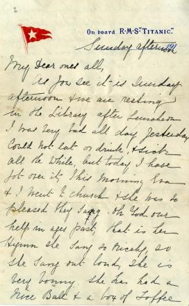 The beginning of Esther Hart's letter
