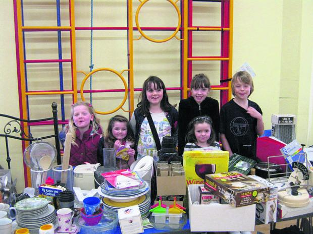 Pupils came along to help with the jumble sale