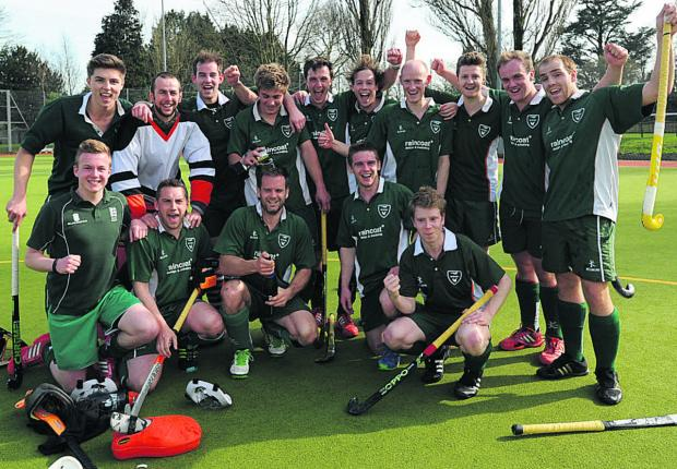 West Wilts men celebrate their promotion after victory over Marlborough last Saturday