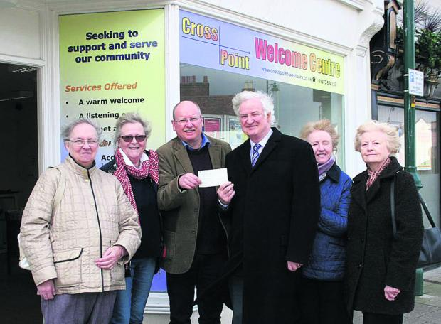 Westbury League of Friends presents a cheque to Westbury Crosspoint. Pictured are Kathryn Cundrick, Erica Watson, Dai Davies, Peter Baker, Sheila Stafford and Shirley Baker