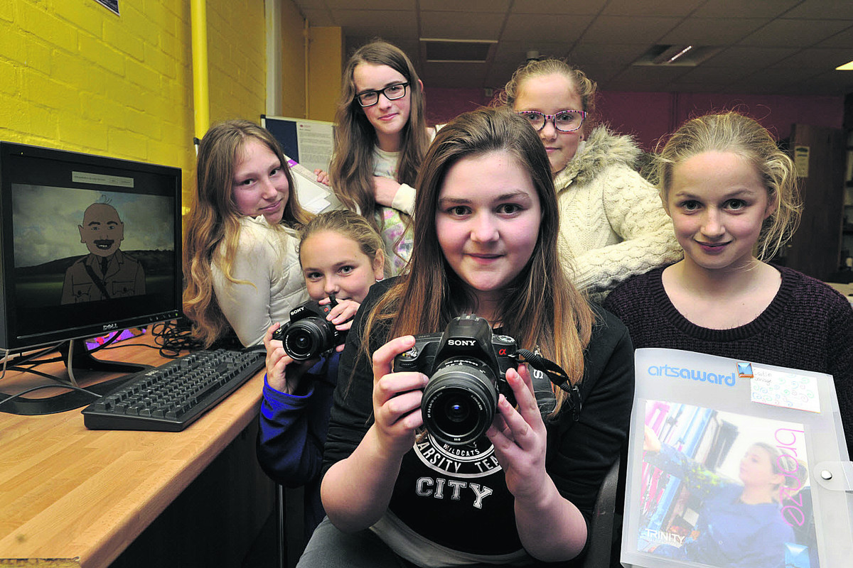 From left: Tia Fear, Maddie Strout, Anna Coulson, Chloe May (front), Phoebe Strout and Caitlin Savage have a created a documentary called Virtual Landscapes